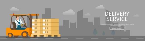 Coche Humano-conducido entrega de la carretilla elevadora con el paquete stock de ilustración