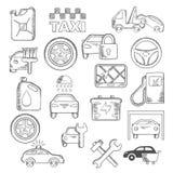 Coche, mecánico e iconos del servicio Imágenes de archivo libres de regalías