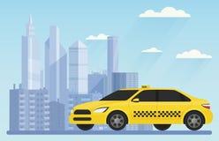 Coche moderno amarillo del taxi en el ejemplo urbano del vector del paisaje del fondo de la ciudad fotografía de archivo libre de regalías