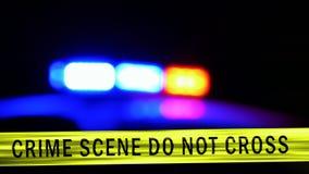 Coche policía con la sirena, Defocused almacen de video