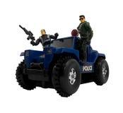 Coche policía con los polis del soldado Imagen de archivo