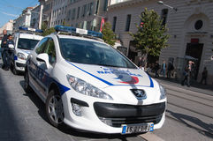 Coche policía de Frenc, Niza Fotos de archivo