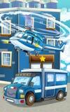 Coche policía de la historieta y helicóptero felices y divertidos