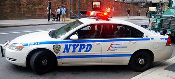 Coche patrulla de NYPD Imagenes de archivo