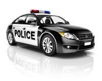 coche policía del negro 3D aislado en blanco Imágenes de archivo libres de regalías