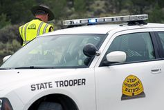 Coche policía del soldado de caballería estatal Imágenes de archivo libres de regalías