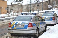 Coche policía en Praga Imagen de archivo