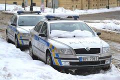Coche policía en Praga Foto de archivo libre de regalías