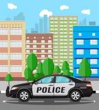 Coche policía genérico en el fondo del paisaje urbano libre illustration