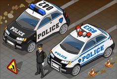 Coche policía isométrico dos en Front View Fotografía de archivo libre de regalías