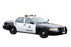 Coche policía de la patrulla de la carretera aislado en blanco Imagenes de archivo