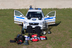 Coche policía - equipo Fotos de archivo