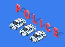 Coche policía isométrico 3D Foto de archivo libre de regalías