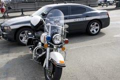Coche policía y motocicleta de Seattle Imagen de archivo libre de regalías