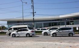 Coche privado Honda Jazz de la ciudad Automóvil de la ventana trasera de cinco puertas foto de archivo