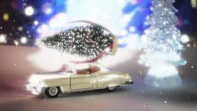 Coche que lleva un árbol de navidad en una nieve stock de ilustración