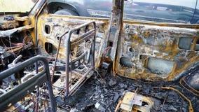 Coche quemado almacen de metraje de vídeo