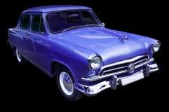 Coche retro azul clásico aislado Imagen de archivo libre de regalías