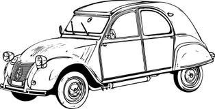 Coche retro en fondo blanco y negro Imagen de archivo