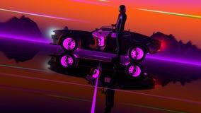 coche Retro-futurista del estilo 80s stock de ilustración