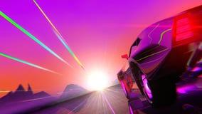 coche Retro-futurista del estilo 80s libre illustration