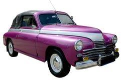 Coche retro púrpura aislado Fotos de archivo libres de regalías