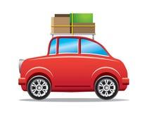 Coche rojo con el estante de equipaje Imágenes de archivo libres de regalías