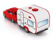 Coche rojo del vintage con la caravana Aislado en el fondo blanco ilustración 3D Imagen de archivo