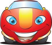 Coche rojo feliz Imagen de archivo