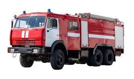 Coche rojo grande del rescate de Rusia, aislado en blanco imagen de archivo