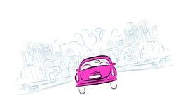 Coche rosado en el camino de ciudad para su diseño Imágenes de archivo libres de regalías