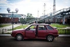 Coche ruso en la estación de tren Imagen de archivo libre de regalías