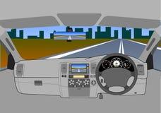 coche sin un programa piloto en el camino. Fotos de archivo libres de regalías