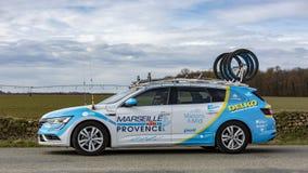 Coche técnico del equipo de Delko Marseille Provence KTM - París-agradable imagen de archivo