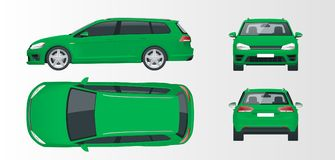 Coche verde de la ventana trasera del vector Vehículo híbrido compacto libre illustration