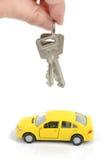 Coche y clave del juguete Imagen de archivo