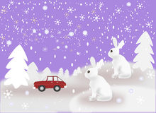 Coche y conejos en el tiempo Nevado Imagen de archivo libre de regalías