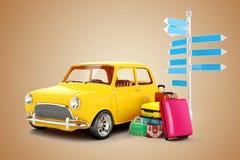 coche y equipaje de la historieta 3d Imágenes de archivo libres de regalías