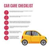 Coche y línea iconos del amarillo de la lista de control del cuidado de coches stock de ilustración
