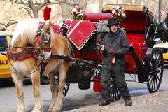 Cochecillo traído por caballo, Nueva York imagen de archivo libre de regalías