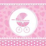 Cochecito de bebé rosado de la muchacha Fotografía de archivo libre de regalías