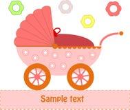 Cochecito de niño rosado del bebé Imagen de archivo