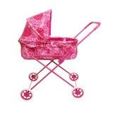 Cochecito de niño rosado del juguete Foto de archivo
