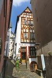 Old Restaurant In Cochem, Germany, editorial. COCHEM - APRIL 03: Old restaurant Zom Stueffje in an half-timbered houses in the Oberbachstrasse in Cochem, Germany Stock Photo