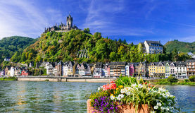Cochem - beautiful medieval town in Germany, famous Rhein river. Panoramic view of Cochem ,town,Germany royalty free stock images