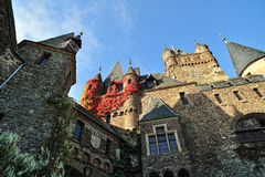 Cochem castle architecture detail. Unesco Heritage. Cochem Castle which stands on a hill 100 metres above the River Mosel was built around the start of the 11th Stock Images