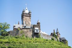Cochem castle in Germany, surrounded by vineyards stock photos
