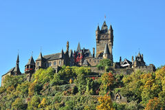 Cochem castle on the hill. Historic building Stock Photography