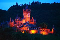 Cochem Castle at night Royalty Free Stock Image