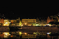 Cochem city in night. Luxury life style Royalty Free Stock Photos